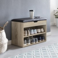 WOHNLING Schuhbank SOFIA mit Sitzfläche Sonoma Garderoben-Bank Holz 60 x 40 x 30 cm