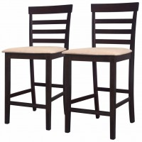 Barstühle 2 Stk. Holz Braun und Beige