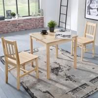 WOHNLING Esszimmer-Set EMIL 3 teilig Kiefer-Holz Landhaus-Stil 70 x 73 x 70 cm