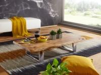 WOHNLING Couchtisch ASURA 115 x 25 x 58 cm Akazie Massiv Holz Metallgestell groß