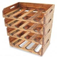Weinregale 4 Stk. für 16 Flaschen Recyceltes Massivholz