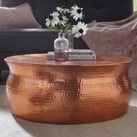 WOHNLING Couchtisch KARAM 75x31x75cm Aluminium Kupfer Beistelltisch orientalisch rund