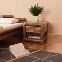 Nachttisch 45×45×40 cm Bambus Dunkelbraun