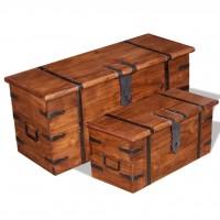 Zweiteiliges Aufbewahrungstruhen Set Massivholz