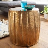 WOHNLING Beistelltisch JAMAL 38x42x38 cm Aluminium Gold Orientalisch Rund