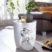 WOHNLING Beistelltisch FACE 35x35x39 cm Aluminium Couchtisch Silber orientalisch
