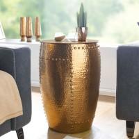 WOHNLING Beistelltisch PEDRO 41,5x62x41,5cm Aluminium Gold Dekotisch orientalisch rund