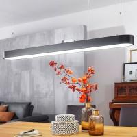 WOHNLING LED-Deckenleuchte LINE Matt schwarz Metall EEK A+ Büro-Deckenlampe 48 Watt 120 x 121 x 15 c
