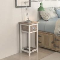 Nachttisch mit 1 Schublade Braun/Weiß
