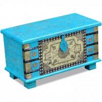 Aufbewahrungstruhe Blau Mangoholz 80x40x45 cm