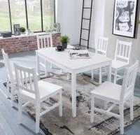 WOHNLING Esszimmer-Set EMIL 7 teilig Kiefer-Holz weiß Landhaus-Stil 120 x 73 x 70 cm