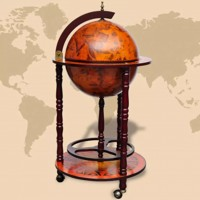 Globus-Bar mit Flaschenregal Holz