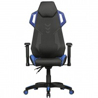 AMSTYLE® GamePad - Gaming Chair aus Kunstleder / Mesh in Schwarz / Blau