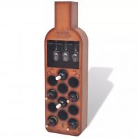 Weinregal Flaschenform für 12 Flaschen Braun