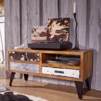 WOHNLING Lowboard NEPAL 100x51x40 cm Massivholz Hifi-Board mit 3 Schubladen