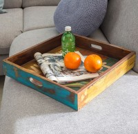 WOHNLING Design Holztablett SURAT 43x43x7,5 cm mit Rand Tablett Massivholz