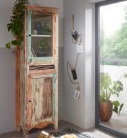 WOHNLING Design Vitrine YAMAS 60 x 190 x 35 cm Highboard Massiv mit 1 Schublade und 2 Türen