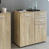 WOHNLING Kommode SVENJA mit Türen & Schubladen 71x78x35cm Schrank Holz Sonoma