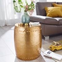 WOHNLING Beistelltisch PEDRO 42x49x42cm Aluminium Gold Dekotisch orientalisch rund