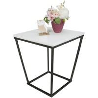WOHNLING Beistelltisch SKANDI Retro Design MDF-Holz weiß 60 x 50 x 50 cm