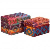 Aufbewahrungsboxen 2 Stk. Recycelter Baumwollstoff Mehrfarbig
