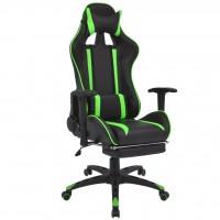Neigbarer Racing-Bürostuhl mit Fußstütze Grün