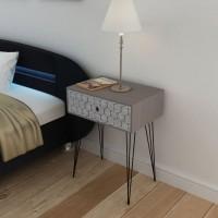 Nachttisch mit 1 Schublade Rechteckig Grau
