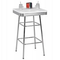 WOHNLING Bartisch eckig ELVIS 60 x 60 cm American Diner MDF Holz & Alu Stehtisch Design Partytisch R