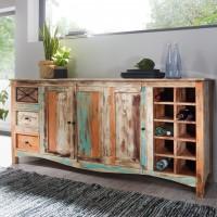 WOHNLING Design Sideboard YAMAS 193x45x90 cm Highboard mit 3 Schubladen und 3 Türen