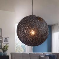 WOHNLING® Design Hängelampe RATA Ø40 cm schwarz Deckenlampe mit Rattan-Schirm