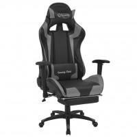Bürostuhl Gaming-Stuhl Neigbar mit Fußstütze Grau