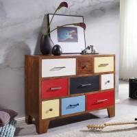 WOHNLING Sideboard KEONA 100x40x80 cm Mango mit 9 Bunten Schubladen