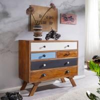 WOHNLING Design Sideboard KEONA 95 x 85 x 40 cm Akazie mit 5 Bunten Schubladen
