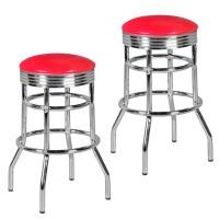 WOHNLING 2er Set Barhocker ELVIS American Diner Retro Design Kunstleder Metall Rot