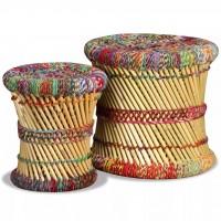 Hocker-Set 2 Stk. Bambus mit Chindi-Details Mehrfarbig
