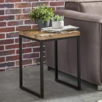 WOHNLING Beistelltisch BELLARY 40x38x55 cm Massivholz Tisch mit Metallgestell