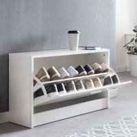 WOHNLING Schuhbank ZOEY mit Sitzfläche Weiß Schuhkipper Holz 80 x 47 x 24 cm