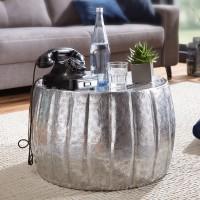 WOHNLING Couchtisch JAMAL 60x36x60 cm Aluminium Silber Beistelltisch orientalisch rund