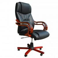 Bürostuhl Chefsessel Luxus BOSS Ledermix schwarz