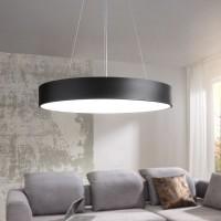WOHNLING LED-Deckenleuchte ROUND rund matt schwarz Metall EEK A+ Büro-Deckenlampe 92 Watt Ø 60 cm