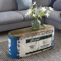WOHNLING Couchtisch INDRA 84x37x29cm Metall / Holz Beistelltisch Shabby-Chic
