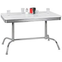 WOHNLING Esstisch ELVIS 120 cm American Diner MDF Holz & Alu Esszimmertisch Design Küchentisch Retro