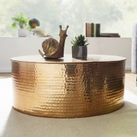 WOHNLING Couchtisch RAHI 75x31x75 cm Aluminium Beistelltisch Gold Orientalisch Rund