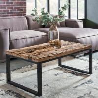 WOHNLING Design Couchtisch BELLARY 100x46x60 cm Massiv Holz Sofatisch mit Metallgestell