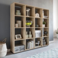 WOHNLING Design Bücherregal ZARA mit 16 Fächern Sonoma Eiche 138 x 142 x 29 cm