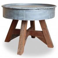 Couchtisch Massiv-Altholz 60 x 45 cm Silber