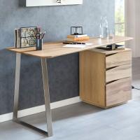 WOHNLING Schreibtisch FARON 1150x67x76 cm Eiche Massivholz Tischplatte Nierenförmig