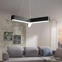 WOHNLING LED-Pendelleuchte Y-FORM Matt schwarz Metall EEK A+ Büro-Deckenlampe 36 Watt 80 x 107 x 80