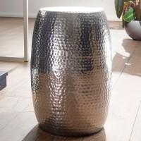 WOHNLING Beistelltisch PEDRO 30x49,5x30cm Aluminium Silber Dekotisch orientalisch rund