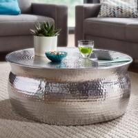 WOHNLING Couchtisch KARAM 75x31x75cm Aluminium Silber Beistelltisch orientalisch rund